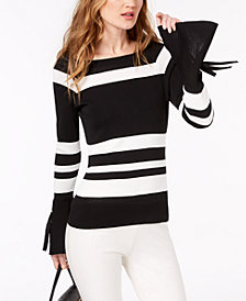 I.N.C. Petite Striped Bow-Sleeve Sweater, Created for Macy's