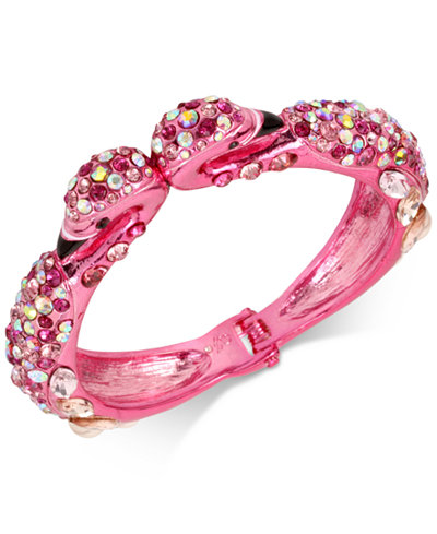 Betsy Johnson Pink-Tone Pavé Stone and Imitation Pearl Flamingo Bangle Bracelet