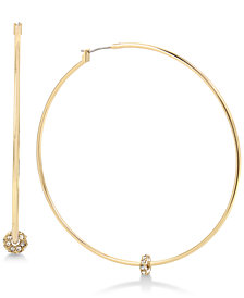 Kenneth Cole New York Gold-Tone Crystal Bead Hoop Earrings