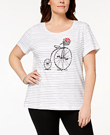 Karen Scott Plus Size Cotton Embellished Graphic T-Shirt, Created for Macy's
