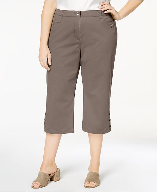 d79383209e7cd Karen Scott. Plus Size Button-Cuff Capri Pants