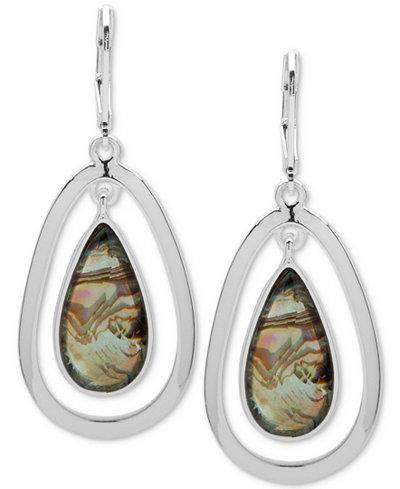 Anne Klein Colored Stone Orbital Drop Earrings