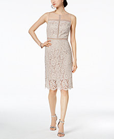 Adrianna Papell Metallic-Lace Illusion Dress
