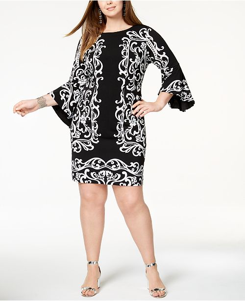 INC Plus Size Vine-Print Bell-Sleeve Dress, Created for Macy\'s