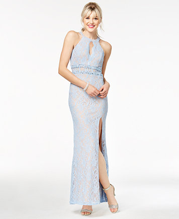 City Studios Juniors\' Illusion-Lace Gown, a Macy\'s Exclusive Style ...
