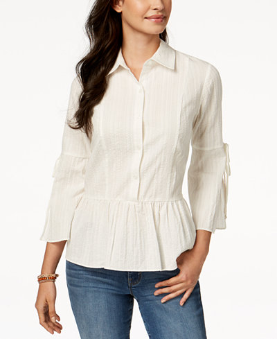 Style & Co Petite Cotton Peplum Tie-Sleeve Shirt, Created for Macy's