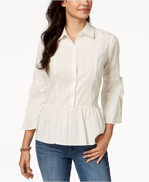 Style & Co Petite Cotton Peplum Tie-Sleeve Shirt, Created for Macy's