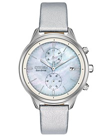 Women's Chronograph Eco-Drive Chandler Silver-Tone Vegan Leather Strap Watch 39mm