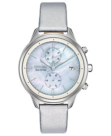 Citizen Women's Chronograph Eco-Drive Chandler Silver-Tone Vegan Leather Strap Watch 39mm