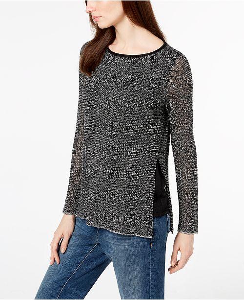 Eileen Fisher Tencel® Blend Side-Slit Contrast Sweater