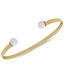 Cultured Freshwater Pearl (6mm) Flex Cuff Bracelet in 10k Gold