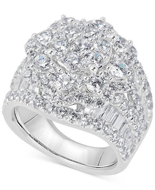 2878d567e Macy's Diamond Cluster Ring (4 ct. t.w.) in 14k White Gold & Reviews ...