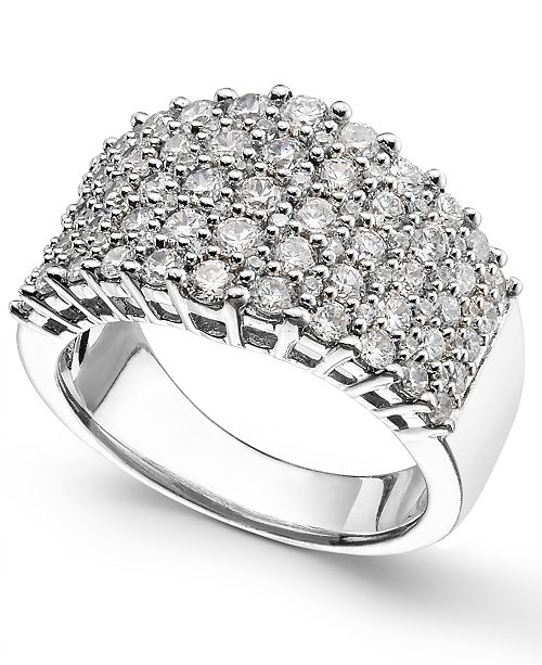 Macy's Diamond Multi-Row Ring (2 ct. t.w.) in 14k White Gold