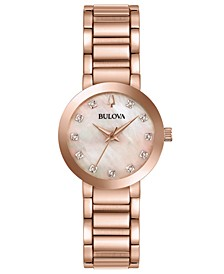 Women's Futuro Diamond-Accent Rose Gold-Tone Stainless Steel Bracelet Watch 30mm