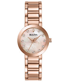 Bulova Women's Modern Diamond-Accent Rose Gold-Tone Stainless Steel Bracelet Watch 30mm