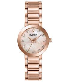 Bulova Women's Modern Diamond-Accent Rose Gold-Tone Stainless Steel Bracelet Watch 30mm