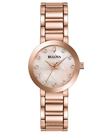 Bulova Women's Futuro Diamond-Accent Rose Gold-Tone Stainless Steel Bracelet Watch 30mm
