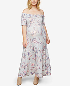 Motherhood Maternity Printed Off-The-Shoulder Maxi Dress