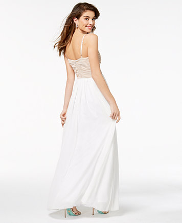 Say Yes to the Prom Juniors\' Embellished Tulle-Underlay Gown ...