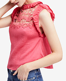 Free People Simply Smiles Cotton Crochet-Contrast Top