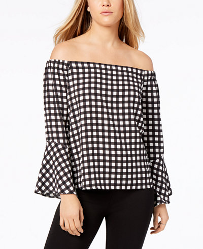 Bar III Off-The-Shoulder Gingham Bell-Sleeve Top, Created for Macy's