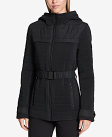 DKNY Micro-Pleated Belted Coat