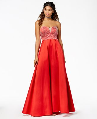 Say Yes To The Prom Juniors Embellished Strapless Ballgown Created