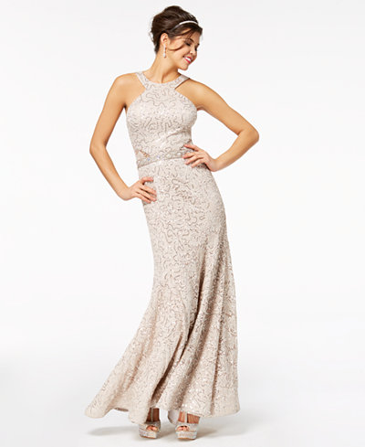 B Darlin Juniors' Sequined Lace Halter Gown