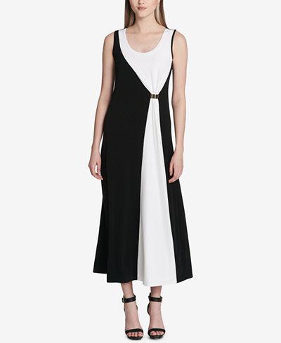 Calvin Klein Contrast-Panel Maxi Dress