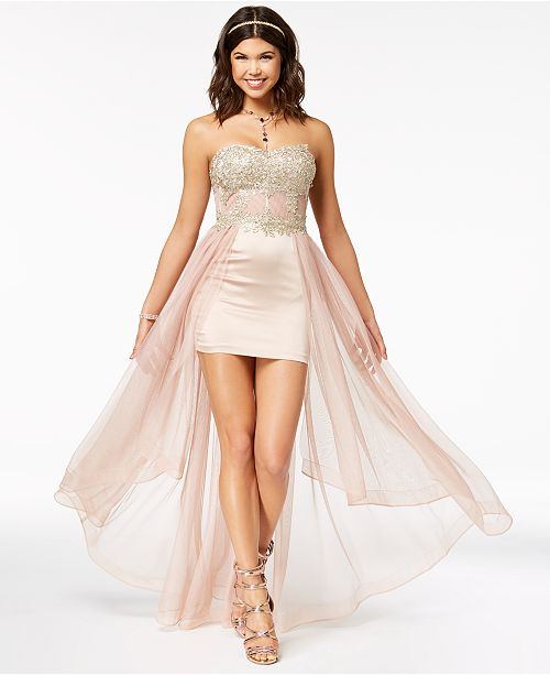 3c606133e ... My Michelle Juniors' Strapless Embroidered High-Low Dress, Created for  Macy's ...