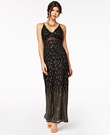 Teeze Me Juniors' Sequin Illusion Column Gown
