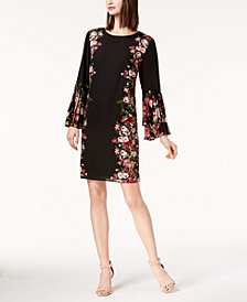 I.N.C. Petite Printed Pleated-Sleeve Dress, Created for Macy's