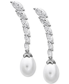 Arabella Cultured Freshwater Pearl (8-1/2 ct. t.w.) & Swarovski Zirconia Drop Earrings in Sterling Silver