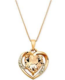 "Morganite (1-3/4 ct. t.w.) & Diamond Accent Heart 18"" Pendant Necklace in 14k Rose Gold"