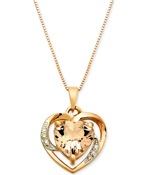 "Macy's Morganite (1-3/4 ct. t.w.) & Diamond Accent Heart 18"" Pendant Necklace in 14k Rose Gold"