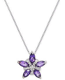 "Amethyst (2-3/4 ct. t.w.) & Diamond Accent 18"" Pendant Necklace in 14k White Gold"