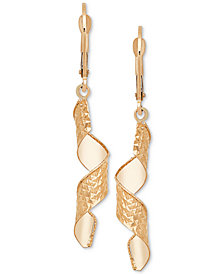 Textured Dangle Drop Earrings in 14k Gold