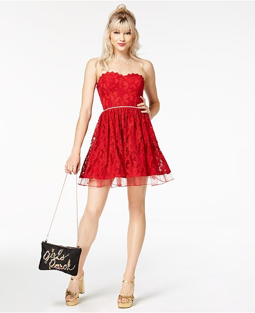 City Studios Juniors  Strapless Embellished Lace Dress  City Studios Juniors   Strapless Embellished Lace ... 0dad2dd06