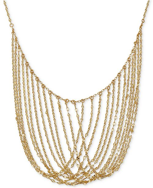 """Macy's Multi-Chain 17"""" Statement Necklace in 14k Gold"""