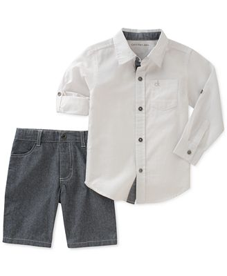Calvin Klein 2-Pc. Woven Cotton Shirt & Denim Shorts Set, Toddler Boys