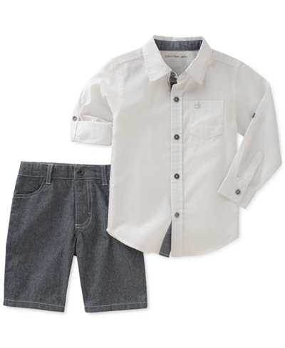 Calvin Klein2-Pc. Woven Cotton Shirt & Denim Shorts Set, Little Boys