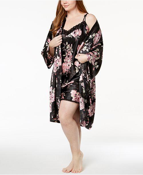 Thalia Sodi Plus Size Rose-Print Woven Wrap & Chemise, Created for Macy's