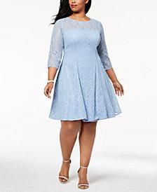 SL Fashions Plus Size Sequined Lace Dress