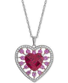 "Lab-Created Multi-Gemstone (2-3/4 ct. t.w.) Heart 18"" Pendant Necklace in Sterling Silver"