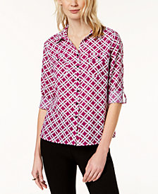 NY Collection Petite Utility Shirt