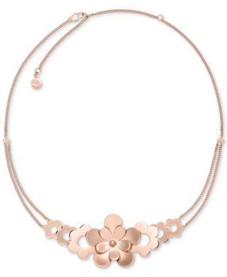 Michael Kors Rose GoldTone Flower Statement Necklace Fashion