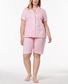Lauren Ralph Lauren Bingham Bermuda Plus Size Printed Cotton Pajama Set