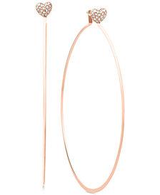 Michael Kors Pavé Heart Charm Hoop Earrings