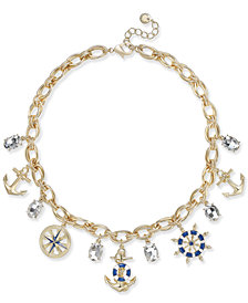 "Charter Club Gold-Tone Nautical Theme Multi-Charm Pendant Necklace, 17"" + 2"" extender, Created for Macy's"