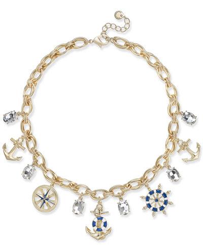 Charter Club Gold-Tone Nautical Theme Multi-Charm Pendant Necklace, 17